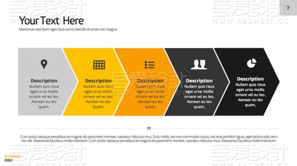 扁平化橙黄色商务总结报告PPT模板
