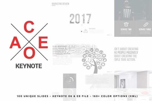 100页极简艺术风格keynote模板