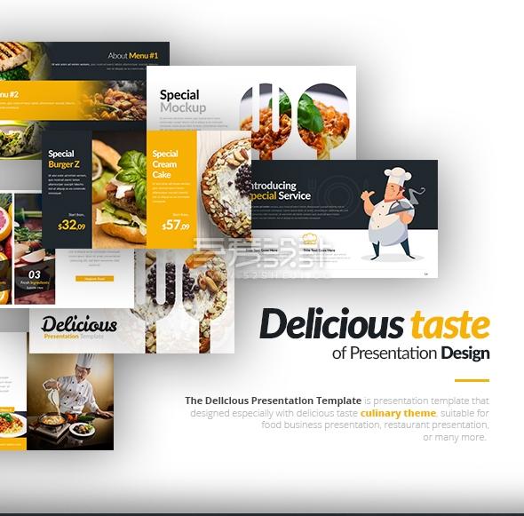 70页厨师餐饮美食营养搭配keynote模板10种配色主题