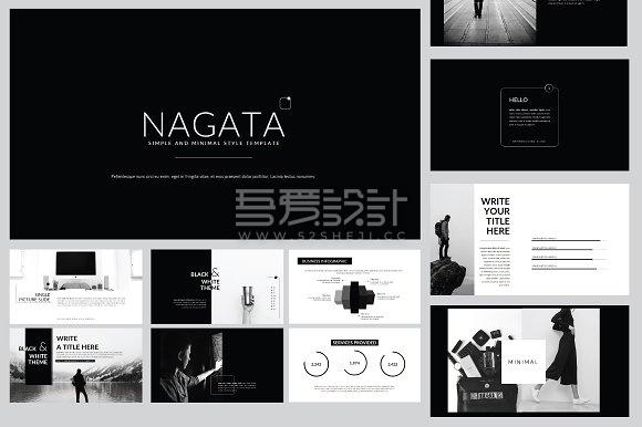 60多页极简黑白风格keynote模板