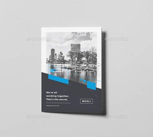 企业团队介绍对折页Indesign模板
