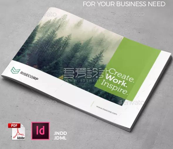 绿色简约创意通用企业宣传Indesign画册模板