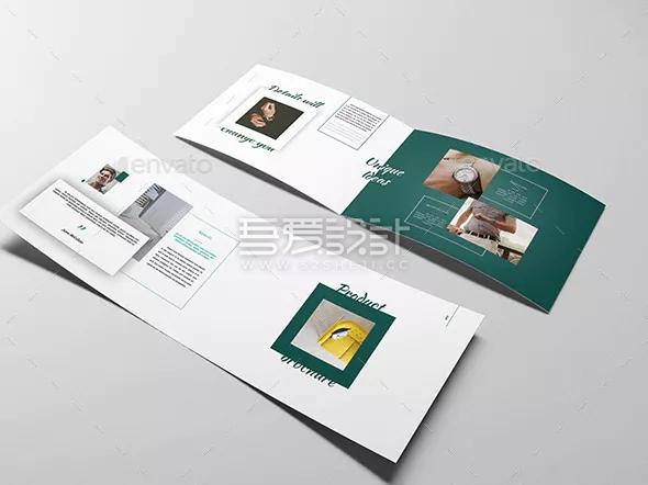 简约时尚产品展示Indesign双折页模板