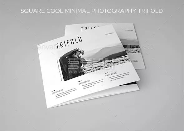 黑白色方形摄影展示Indesign三折页模板