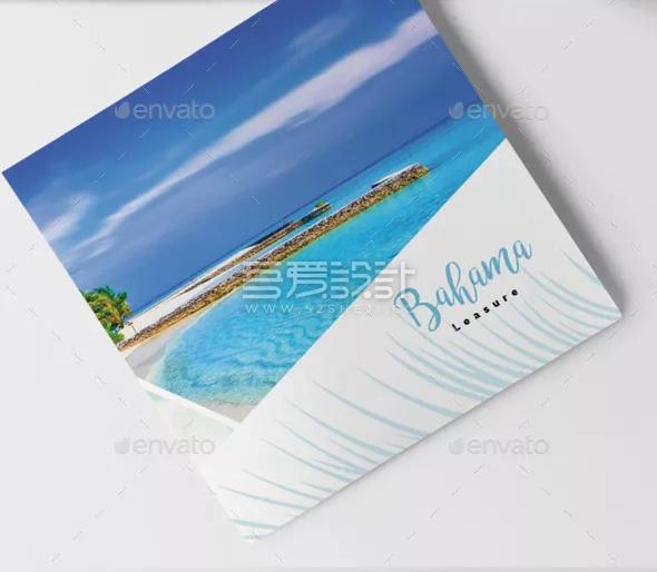 简约精美热带旅游Indesign三折页模板