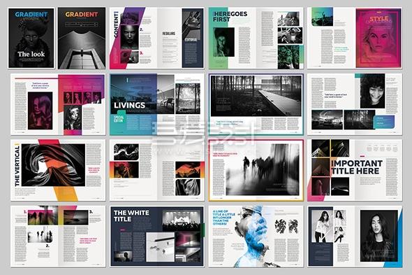 高端创意时尚Indesign杂志画册模板