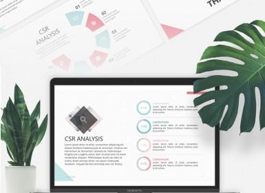 企业极简文艺(CSR)免费PowerPoint模板
