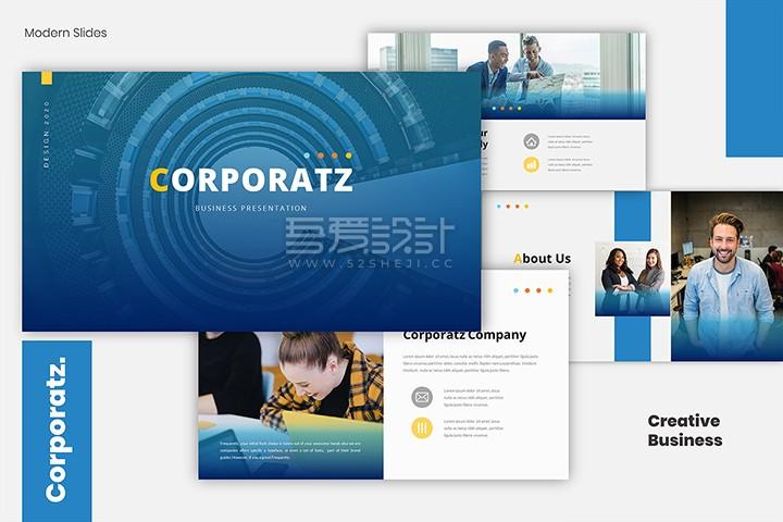 36张蓝色企业简介/教育机构PPT模板