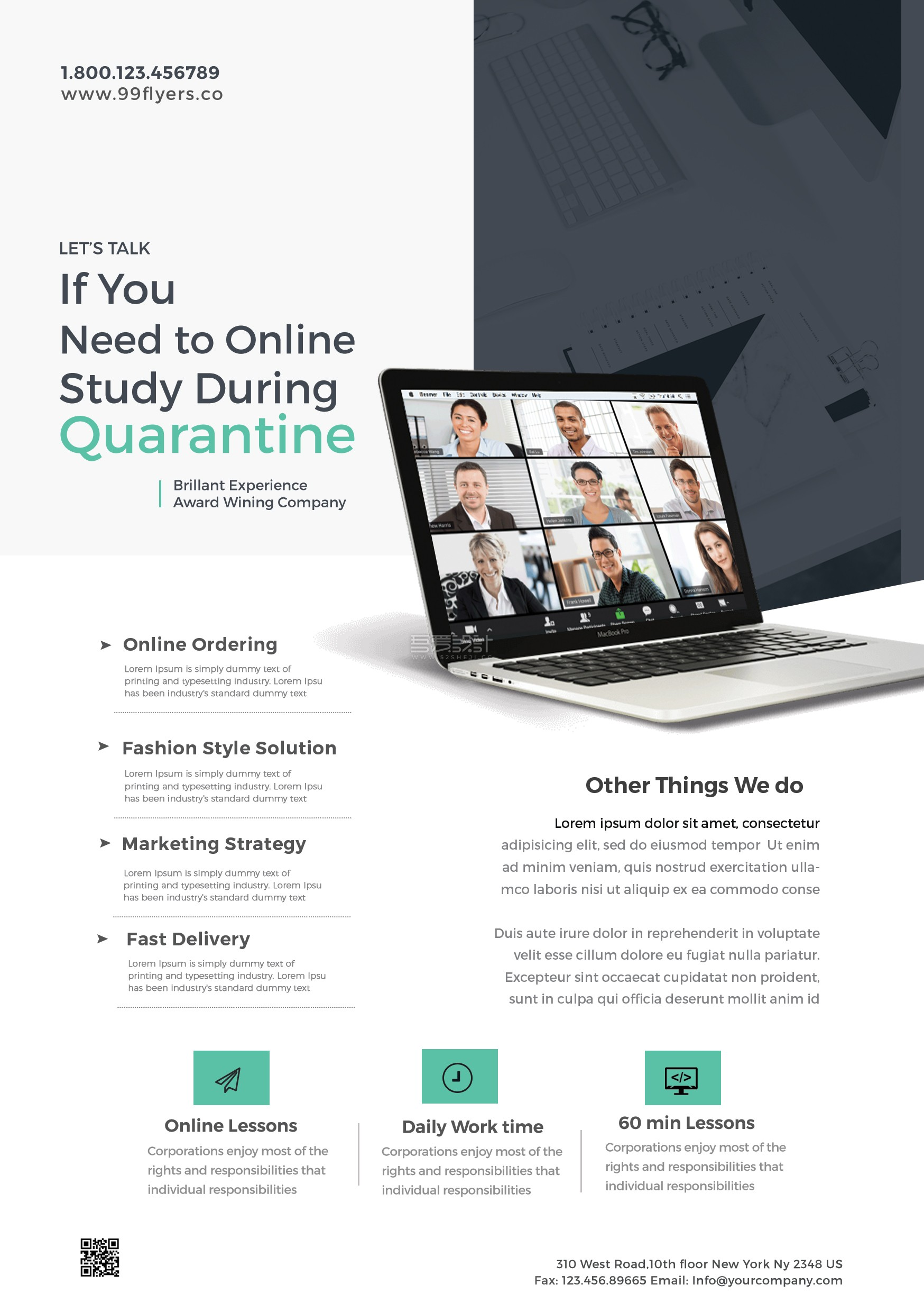 Online Home Learning Flyer Free PSD Tamplete 1