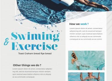游泳多用途传单免费PSD模板