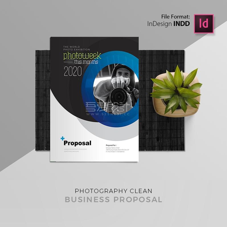 蓝黑色创意摄影项目宣传册模板