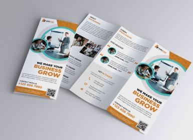 橙色企业三折页业务宣传册PSD模板