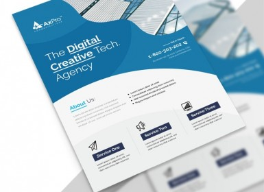 蓝色创意商业传单矢量打印模板