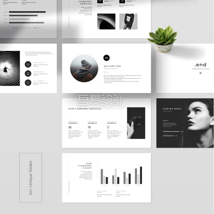 20多页独特创意PowerPoint模板