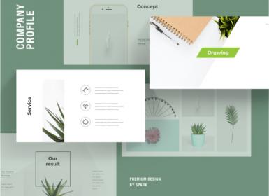 52个绿色清新公司业务简介PowerPoint模板
